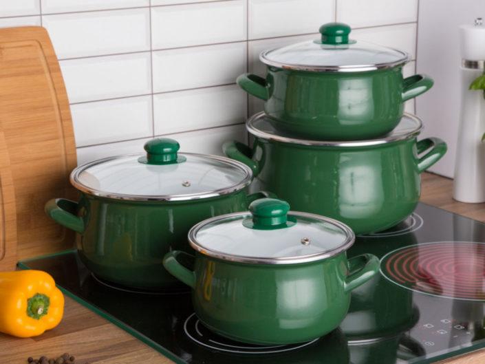 Zestaw garnków emaliowanych Silesia Rybnik na gaz i indukcję Klara ze szklanymi pokrywami zielony